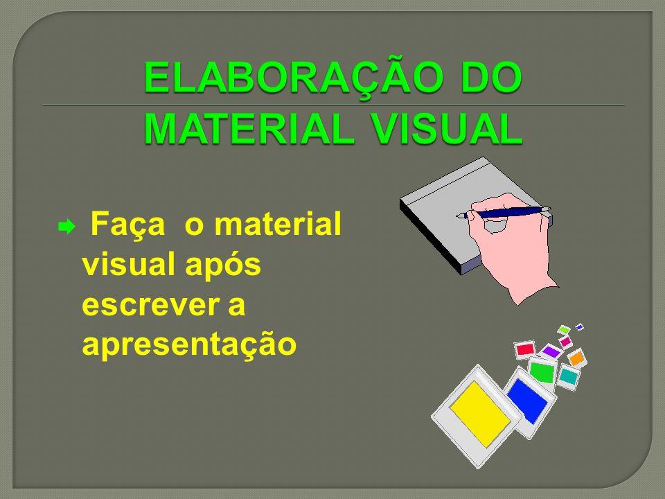Faça o material visual após escrever a apresentação