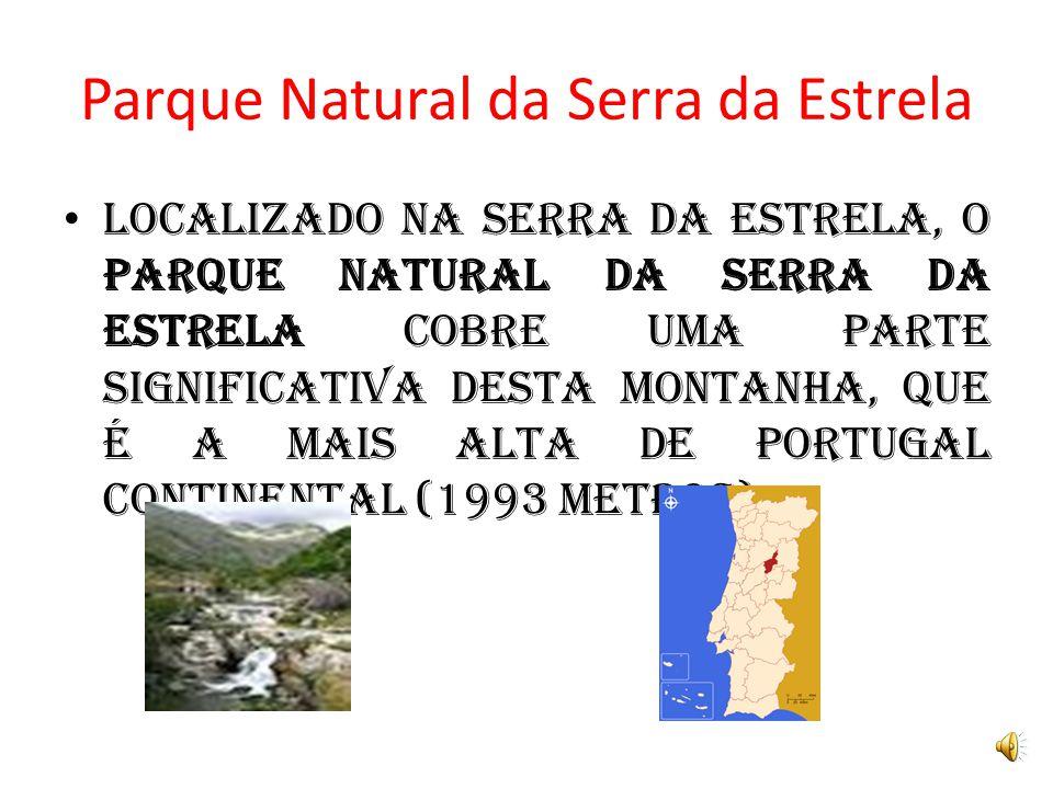 Parque Natural da Serra da Estrela Localizado na Serra da Estrela, o Parque Natural da Serra da Estrela cobre uma parte significativa desta montanha, que é a mais alta de Portugal Continental (1993 metros).