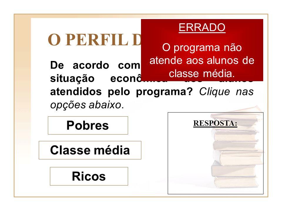 De acordo com o texto, qual é a situação econômica dos alunos atendidos pelo programa? Clique nas opções abaixo. Pobres Classe média Ricos O PERFIL DO