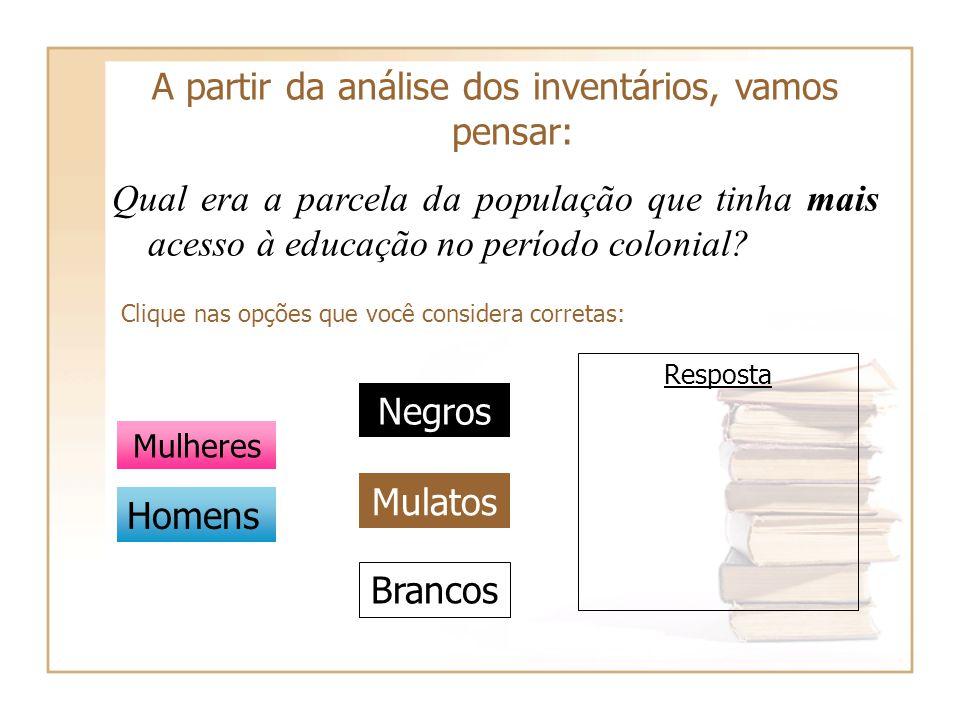 A partir da análise dos inventários, vamos pensar: Qual era a parcela da população que tinha mais acesso à educação no período colonial? Clique nas op