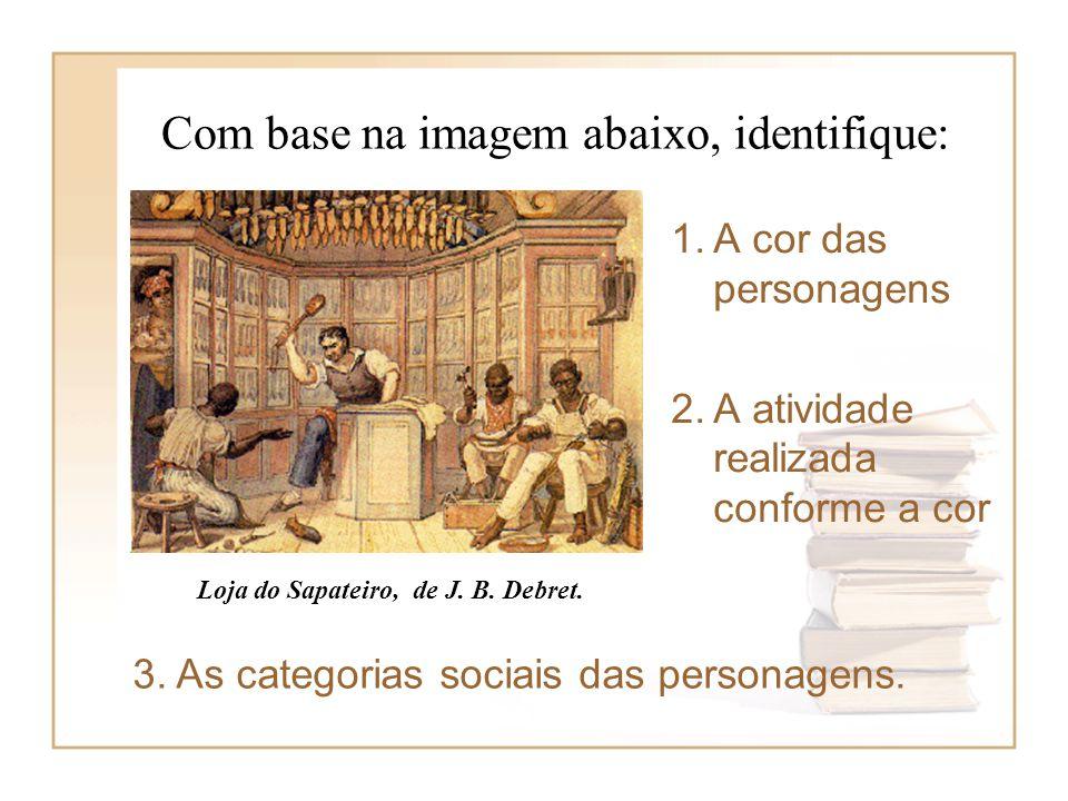 Com base na imagem abaixo, identifique: 1.A cor das personagens 2.A atividade realizada conforme a cor Loja do Sapateiro, de J. B. Debret. 3. As categ
