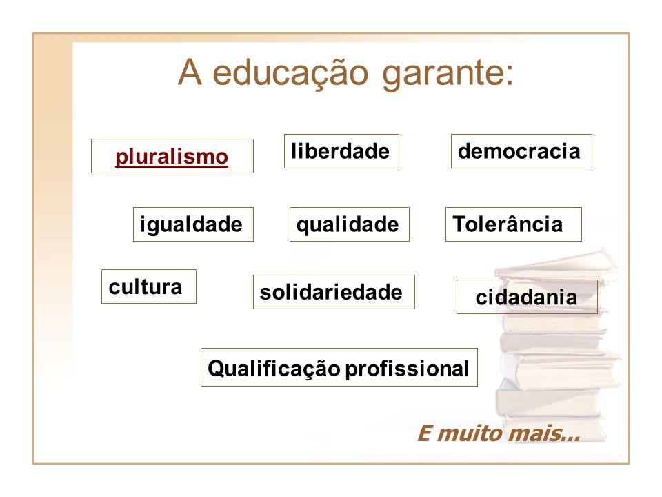 cidadania igualdade liberdade Tolerância pluralismo democracia qualidade Qualificação profissional cultura solidariedade E muito mais... A educação ga