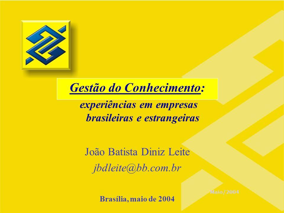 Maio/2004 Gestão do Conhecimento: experiências em empresas brasileiras e estrangeiras João Batista Diniz Leite jbdleite@bb.com.br Brasília, maio de 20