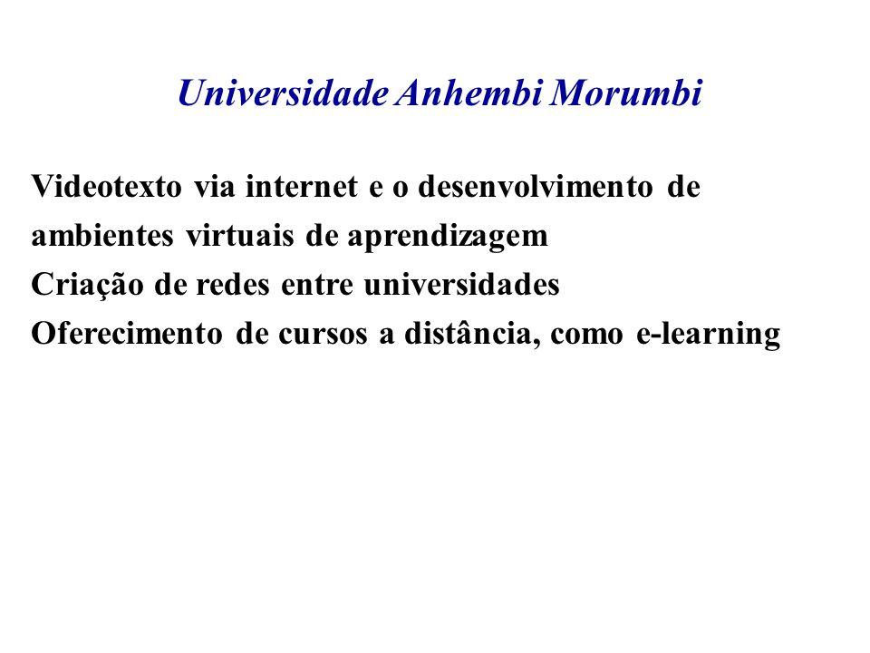 Universidade Anhembi Morumbi Videotexto via internet e o desenvolvimento de ambientes virtuais de aprendizagem Criação de redes entre universidades Of