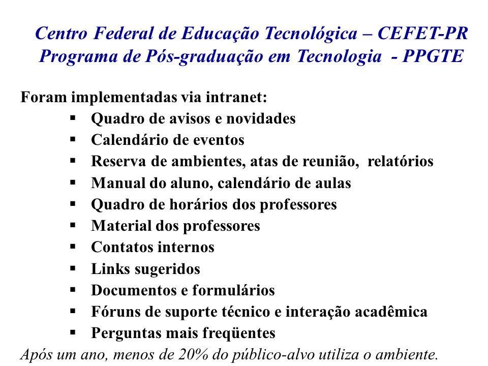 Centro Federal de Educação Tecnológica – CEFET-PR Programa de Pós-graduação em Tecnologia - PPGTE Foram implementadas via intranet: Quadro de avisos e