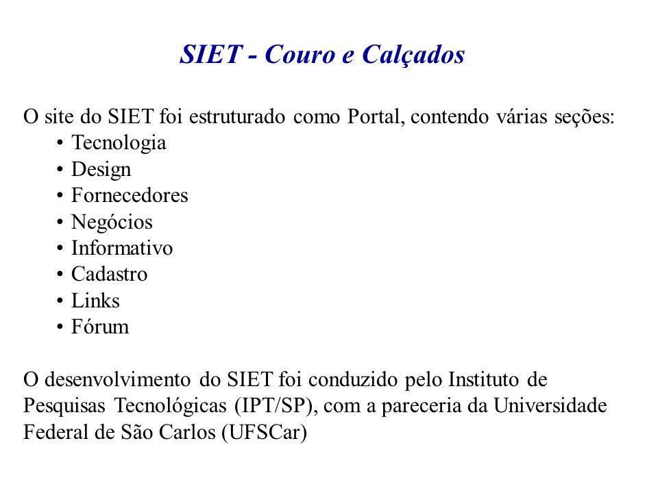 O site do SIET foi estruturado como Portal, contendo várias seções: Tecnologia Design Fornecedores Negócios Informativo Cadastro Links Fórum O desenvo