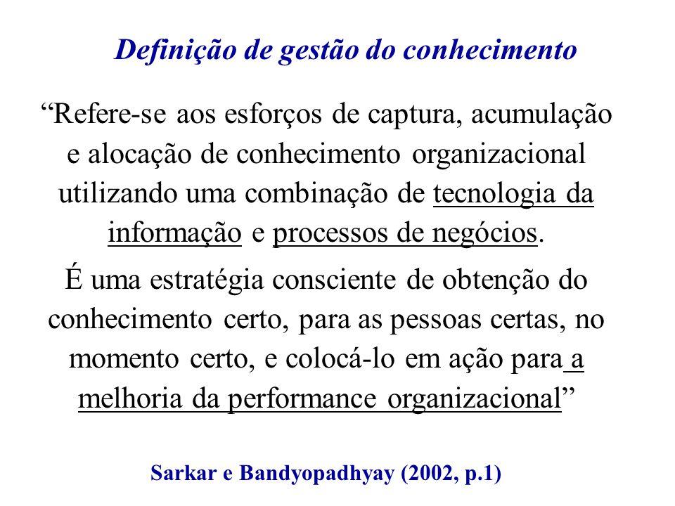 Refere-se aos esforços de captura, acumulação e alocação de conhecimento organizacional utilizando uma combinação de tecnologia da informação e proces