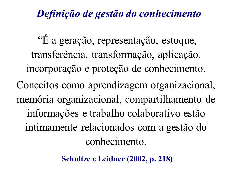 É a geração, representação, estoque, transferência, transformação, aplicação, incorporação e proteção de conhecimento. Conceitos como aprendizagem org