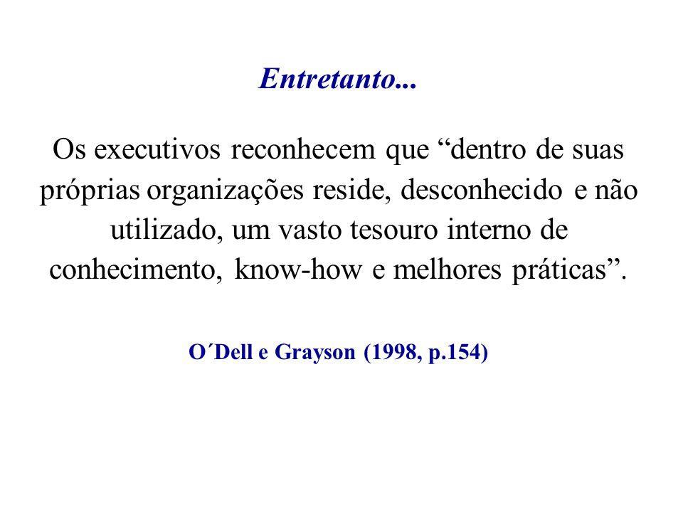Os executivos reconhecem que dentro de suas próprias organizações reside, desconhecido e não utilizado, um vasto tesouro interno de conhecimento, know