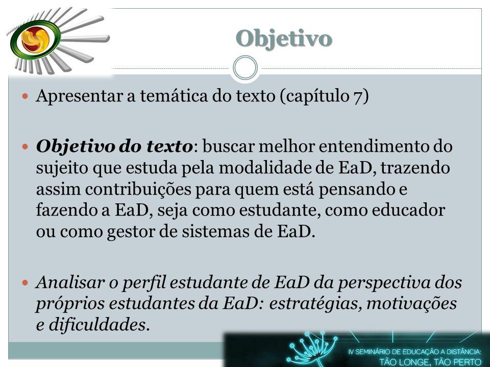 Objetivo Apresentar a temática do texto (capítulo 7) Objetivo do texto: buscar melhor entendimento do sujeito que estuda pela modalidade de EaD, traze