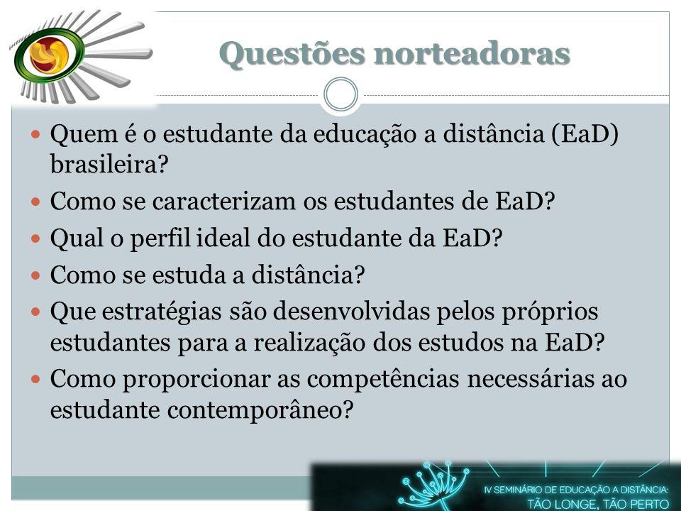 Questões norteadoras Quem é o estudante da educação a distância (EaD) brasileira? Como se caracterizam os estudantes de EaD? Qual o perfil ideal do es