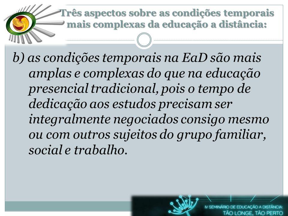 b) as condições temporais na EaD são mais amplas e complexas do que na educação presencial tradicional, pois o tempo de dedicação aos estudos precisam