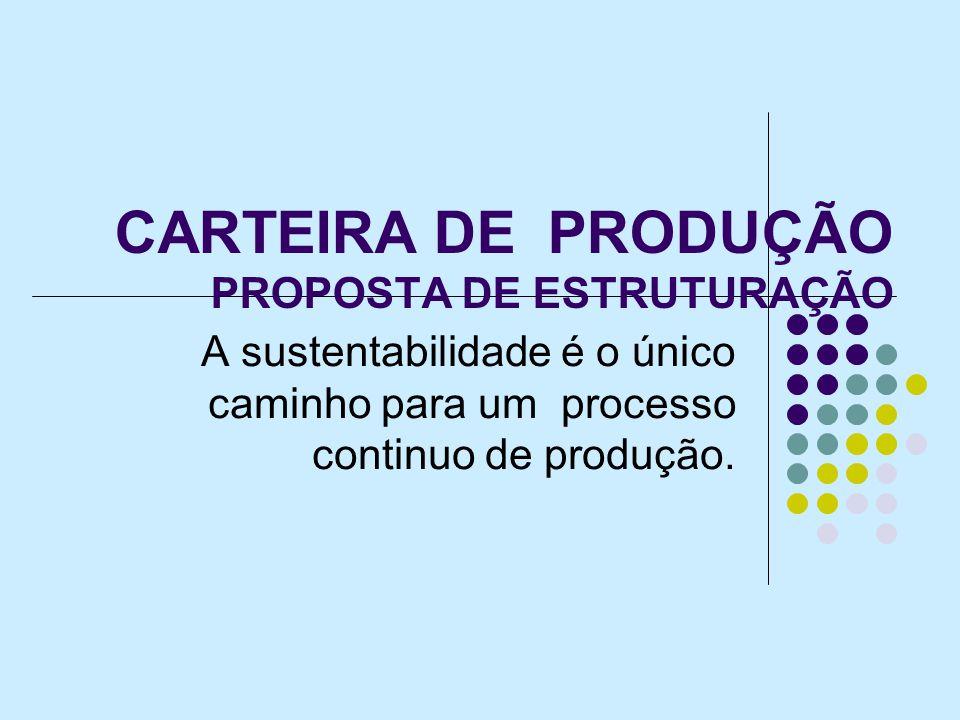 CARTEIRA DE PRODUÇÃO PROPOSTA DE ESTRUTURAÇÃO A sustentabilidade é o único caminho para um processo continuo de produção.