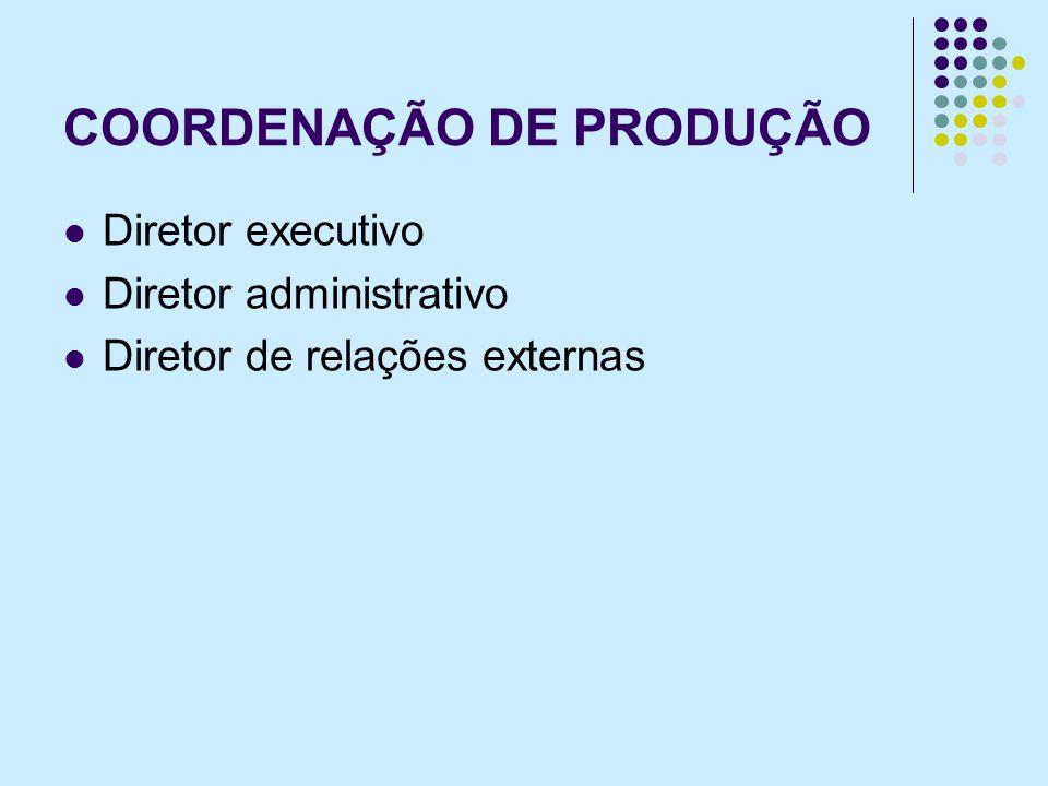 COORDENAÇÃO DE PRODUÇÃO Diretor executivo Diretor administrativo Diretor de relações externas