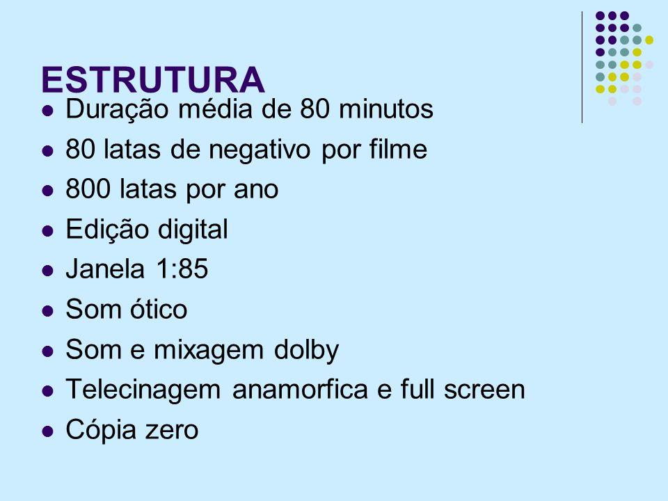 ESTRUTURA Duração média de 80 minutos 80 latas de negativo por filme 800 latas por ano Edição digital Janela 1:85 Som ótico Som e mixagem dolby Telecinagem anamorfica e full screen Cópia zero