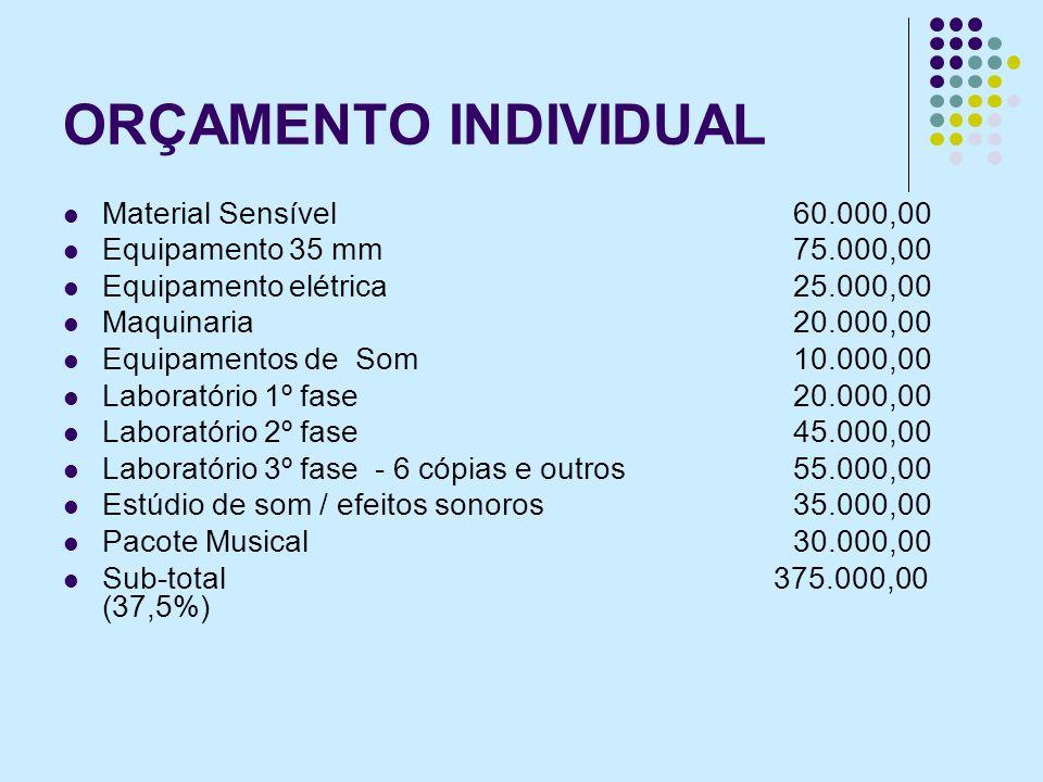ORÇAMENTO INDIVIDUAL Material Sensível 60.000,00 Equipamento 35 mm75.000,00 Equipamento elétrica 25.000,00 Maquinaria 20.000,00 Equipamentos de Som 10.000,00 Laboratório 1º fase20.000,00 Laboratório 2º fase45.000,00 Laboratório 3º fase - 6 cópias e outros55.000,00 Estúdio de som / efeitos sonoros35.000,00 Pacote Musical30.000,00 Sub-total 375.000,00 (37,5%)