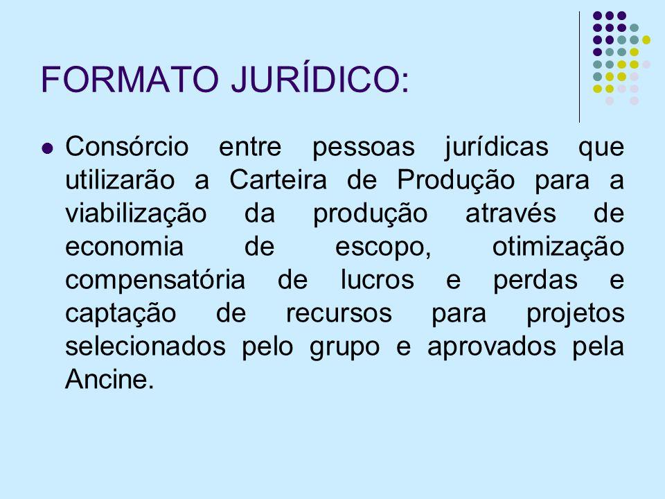 FORMATO JURÍDICO: Consórcio entre pessoas jurídicas que utilizarão a Carteira de Produção para a viabilização da produção através de economia de escop