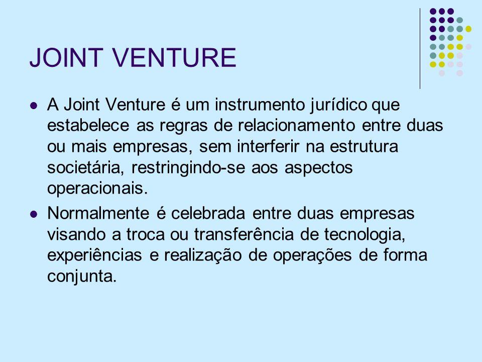 JOINT VENTURE A Joint Venture é um instrumento jurídico que estabelece as regras de relacionamento entre duas ou mais empresas, sem interferir na estrutura societária, restringindo-se aos aspectos operacionais.