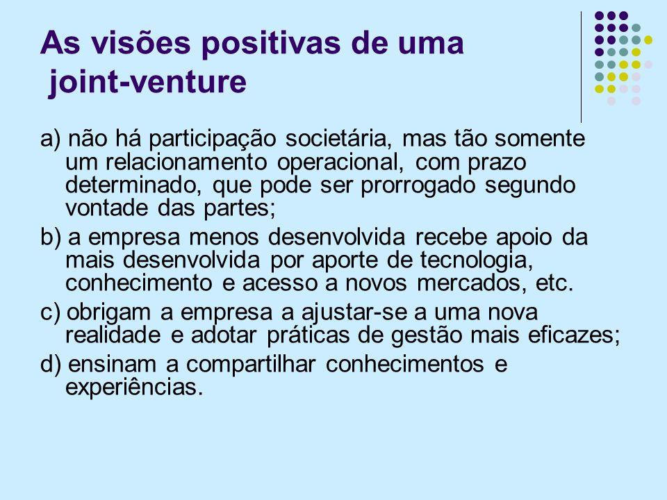 As visões positivas de uma joint-venture a) não há participação societária, mas tão somente um relacionamento operacional, com prazo determinado, que