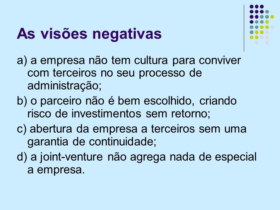 As visões negativas a) a empresa não tem cultura para conviver com terceiros no seu processo de administração; b) o parceiro não é bem escolhido, cria