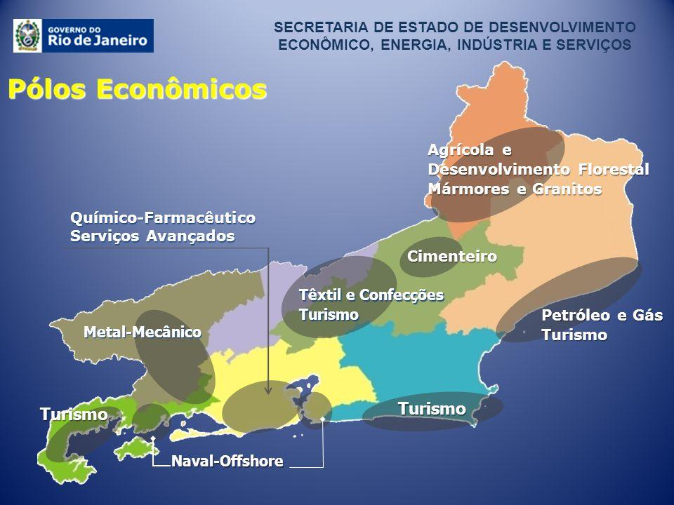 Naval-Offshore Metal-Mecânico Petróleo e Gás Turismo Agrícola e Desenvolvimento Florestal Mármores e Granitos Têxtil e Confecções Turismo Cimenteiro S