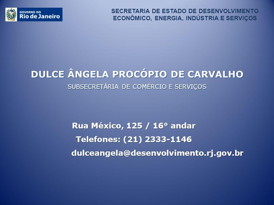 DULCE ÂNGELA PROCÓPIO DE CARVALHO SUBSECRETÁRIA DE COMÉRCIO E SERVIÇOS Rua México, 125 / 16° andar Telefones: (21) 2333-1146 dulceangela@desenvolvimen