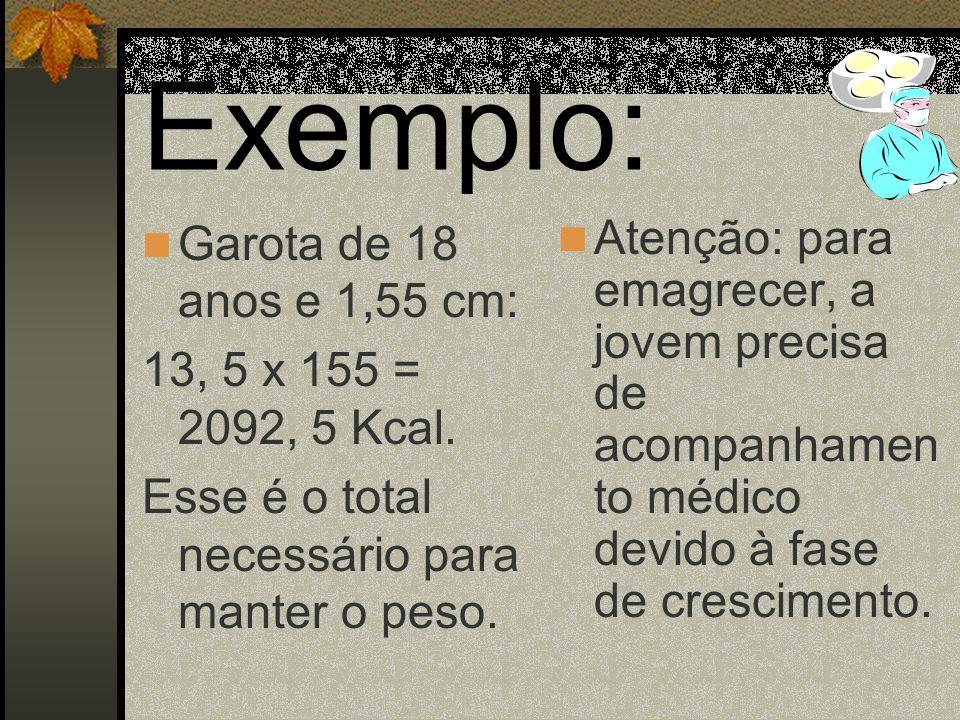 Para garotas (de 15 a 18 anos) 13, 5 x altura* = valor calórico total * Ao fazer o cálculo, não use vírgula na altura.