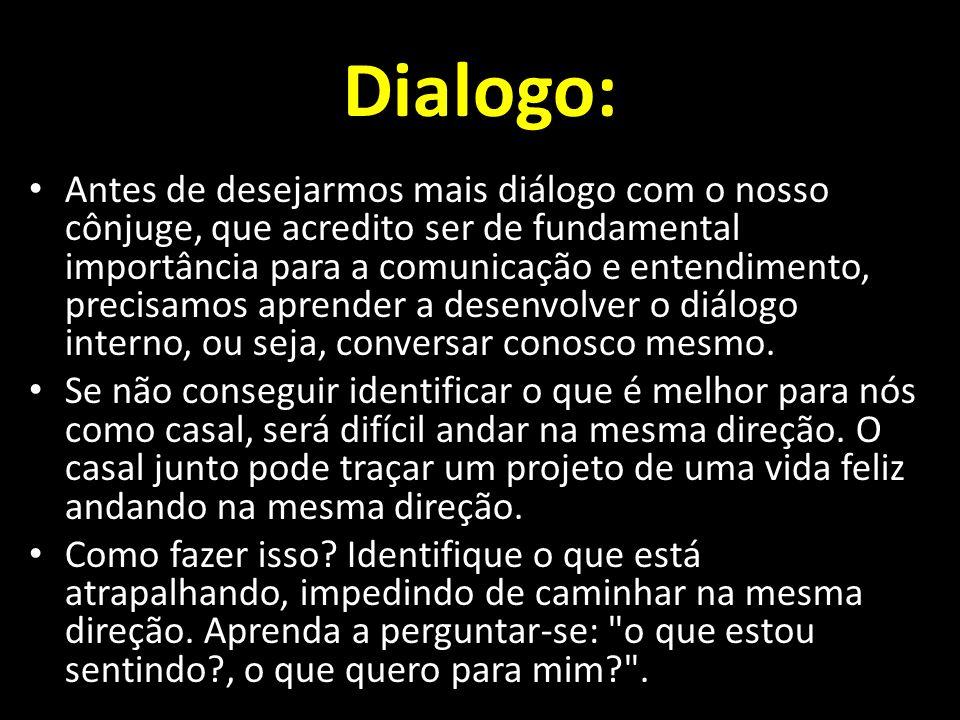 Dialogo: Antes de desejarmos mais diálogo com o nosso cônjuge, que acredito ser de fundamental importância para a comunicação e entendimento, precisamos aprender a desenvolver o diálogo interno, ou seja, conversar conosco mesmo.