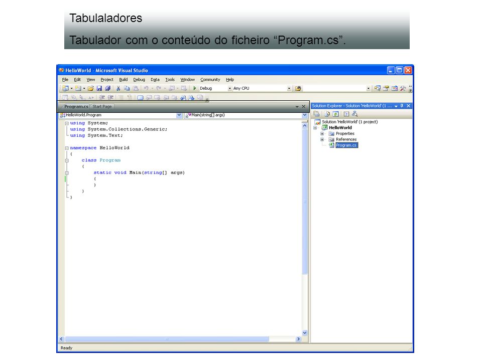 Lista de tipos disponíveis – classe Program do namespace HelloWorld.