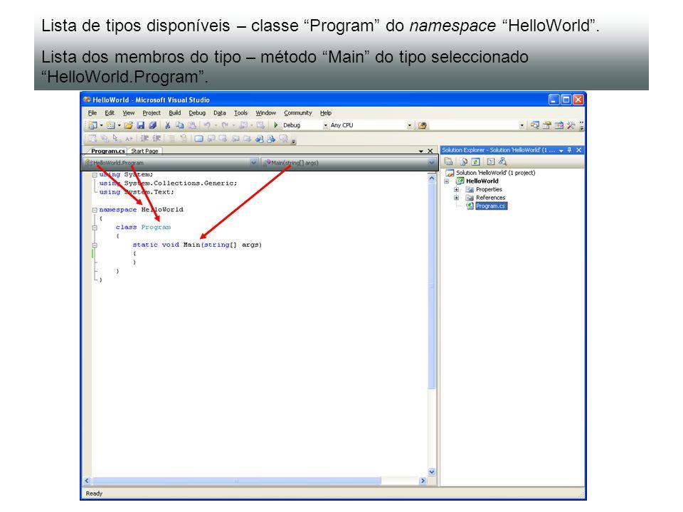 Lista de tipos disponíveis – classe Program do namespace HelloWorld. Lista dos membros do tipo – método Main do tipo seleccionado HelloWorld.Program.