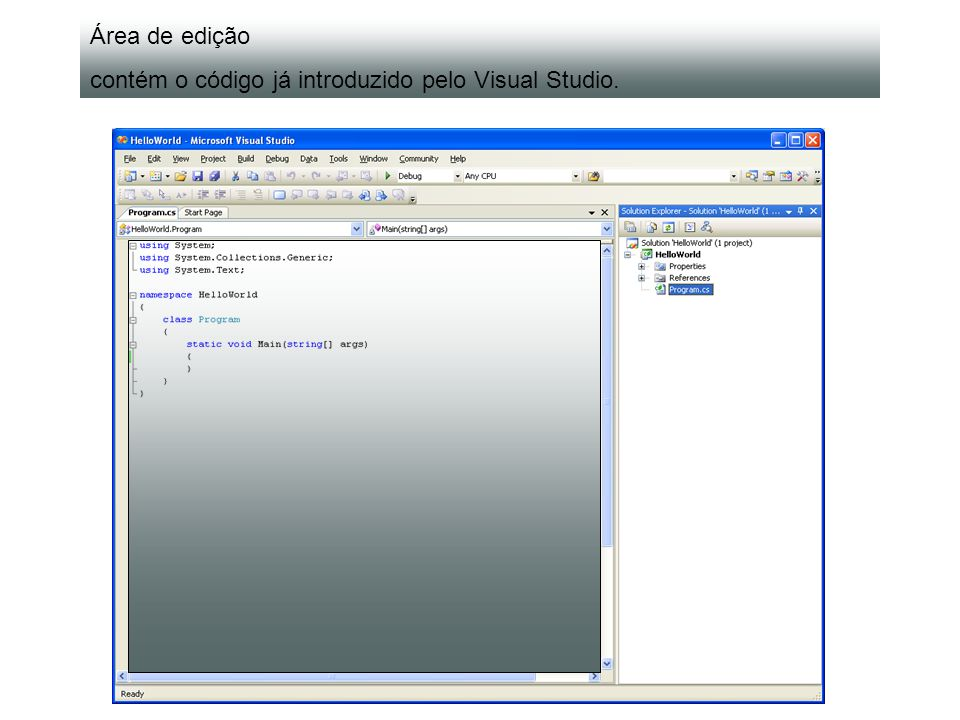 5. Executar o programa (barra de menus, botão ou a tecla F5). F5