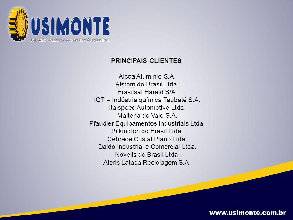 PRINCIPAIS CLIENTES Alcoa Alumínio S.A. Alstom do Brasil Ltda. Brasilsat Harald S/A. IQT – Indústria química Taubaté S.A. Italspeed Automotive Ltda. M