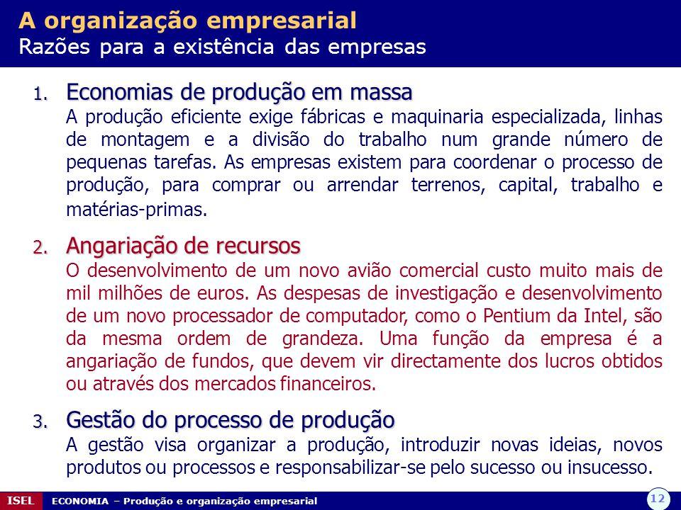 12 ISEL ECONOMIA – Produção e organização empresarial A organização empresarial Razões para a existência das empresas 1. Economias de produção em mass