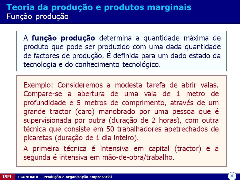 4 ISEL ECONOMIA – Produção e organização empresarial Teoria da produção e produtos marginais Função produção A função produção determina a quantidade
