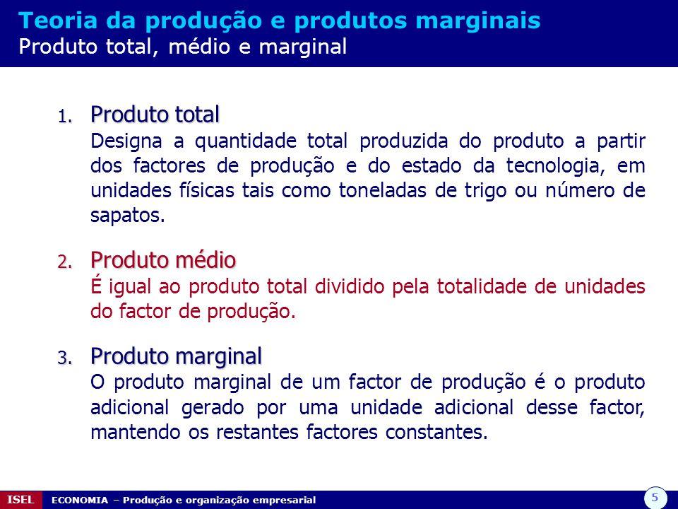 5 ISEL ECONOMIA – Produção e organização empresarial Teoria da produção e produtos marginais Produto total, médio e marginal 1. Produto total Designa