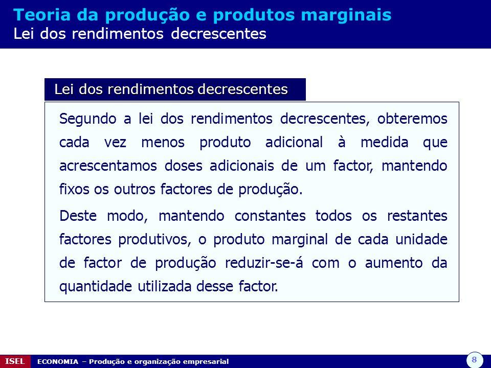 8 ISEL ECONOMIA – Produção e organização empresarial Teoria da produção e produtos marginais Lei dos rendimentos decrescentes Lei dos rendimentos decr