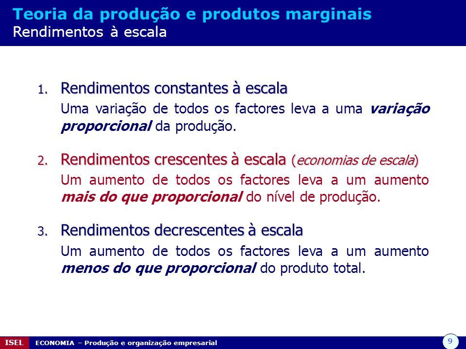 9 ISEL ECONOMIA – Produção e organização empresarial Teoria da produção e produtos marginais Rendimentos à escala 1. Rendimentos constantes à escala U