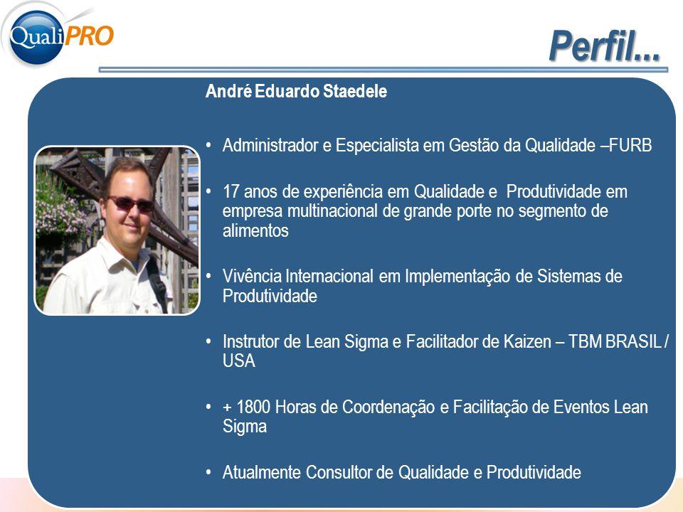 1 - 2 André Eduardo Staedele Administrador e Especialista em Gestão da Qualidade –FURB 17 anos de experiência em Qualidade e Produtividade em empresa