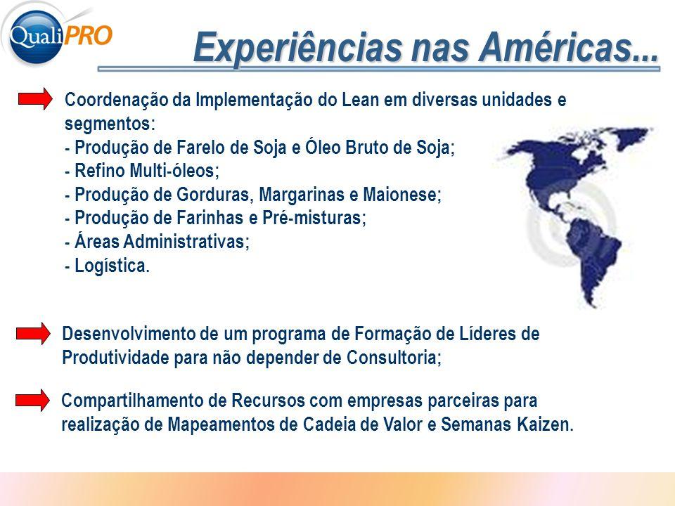 1 - 3 Experiências nas Américas... Desenvolvimento de um programa de Formação de Líderes de Produtividade para não depender de Consultoria; Coordenaçã