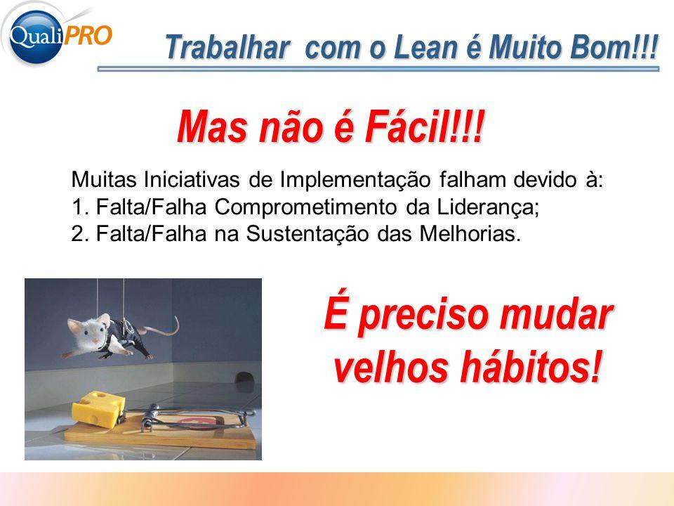 1 - 6 Trabalhar com o Lean é Muito Bom!!! Mas não é Fácil!!! Muitas Iniciativas de Implementação falham devido à: 1. Falta/Falha Comprometimento da Li