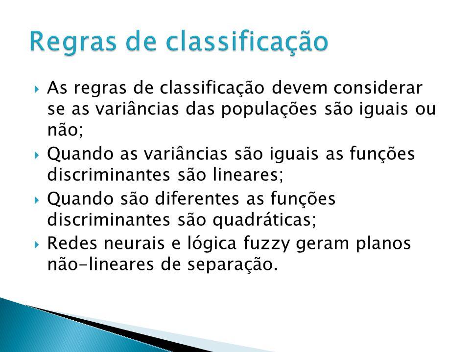 As regras de classificação devem considerar se as variâncias das populações são iguais ou não; Quando as variâncias são iguais as funções discriminant
