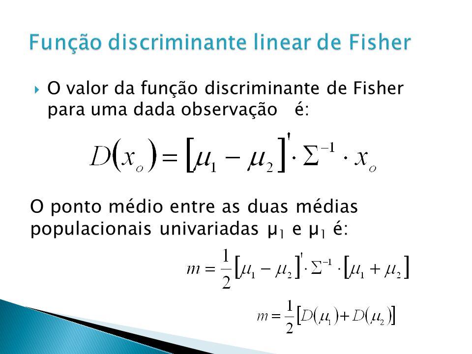 O valor da função discriminante de Fisher para uma dada observação é: O ponto médio entre as duas médias populacionais univariadas µ 1 e µ 1 é: