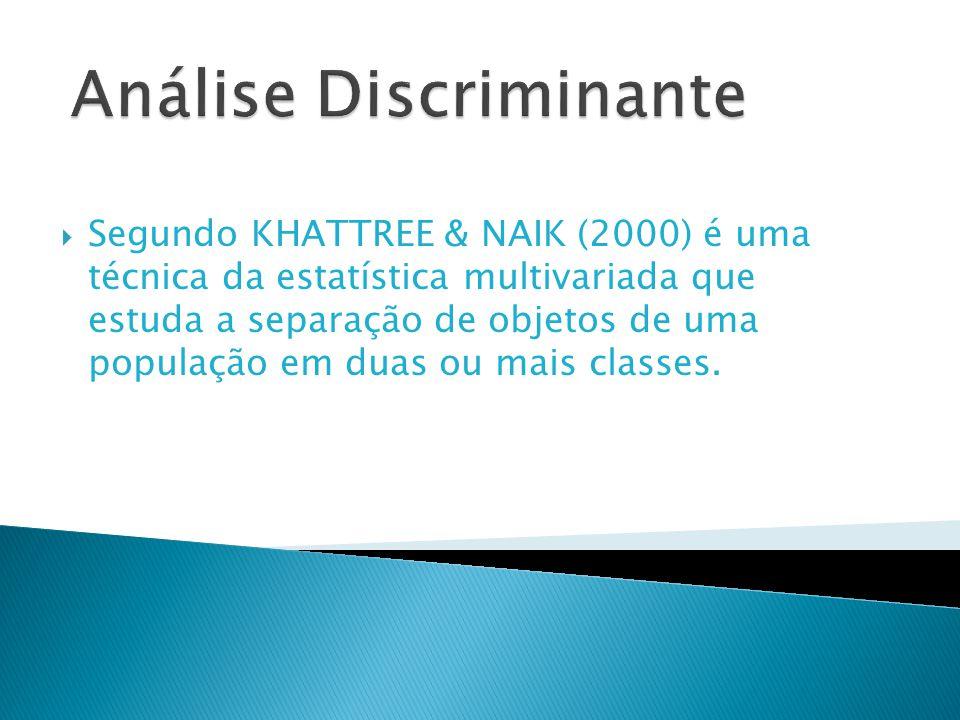 Segundo KHATTREE & NAIK (2000) é uma técnica da estatística multivariada que estuda a separação de objetos de uma população em duas ou mais classes.
