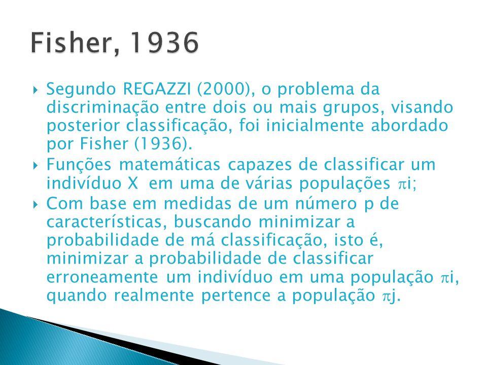 Segundo REGAZZI (2000), o problema da discriminação entre dois ou mais grupos, visando posterior classificação, foi inicialmente abordado por Fisher (