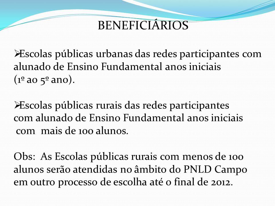 BENEFICIÁRIOS Escolas públicas urbanas das redes participantes com alunado de Ensino Fundamental anos iniciais (1º ao 5º ano). Escolas públicas rurais