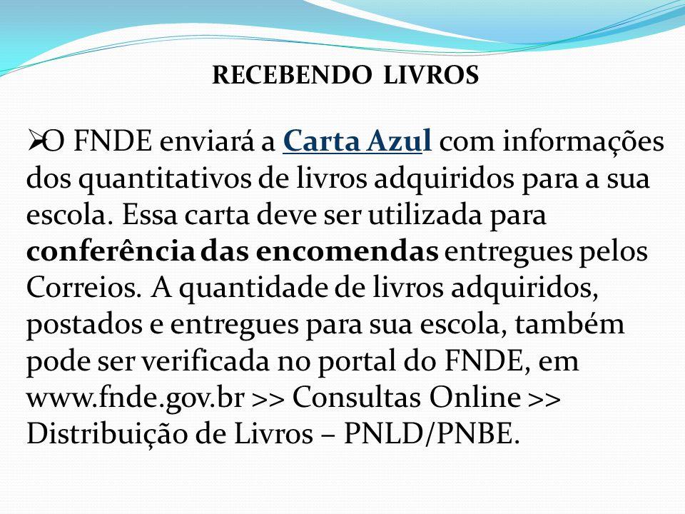 RECEBENDO LIVROS O FNDE enviará a Carta Azul com informações dos quantitativos de livros adquiridos para a sua escola. Essa carta deve ser utilizada p