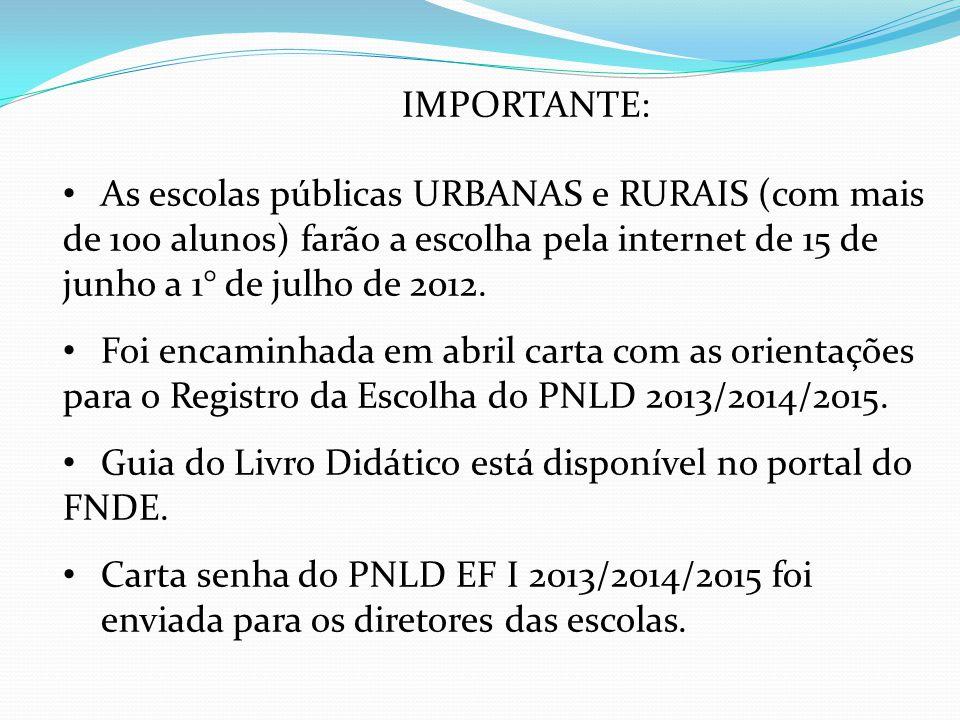 IMPORTANTE: As escolas públicas URBANAS e RURAIS (com mais de 100 alunos) farão a escolha pela internet de 15 de junho a 1° de julho de 2012. Foi enca