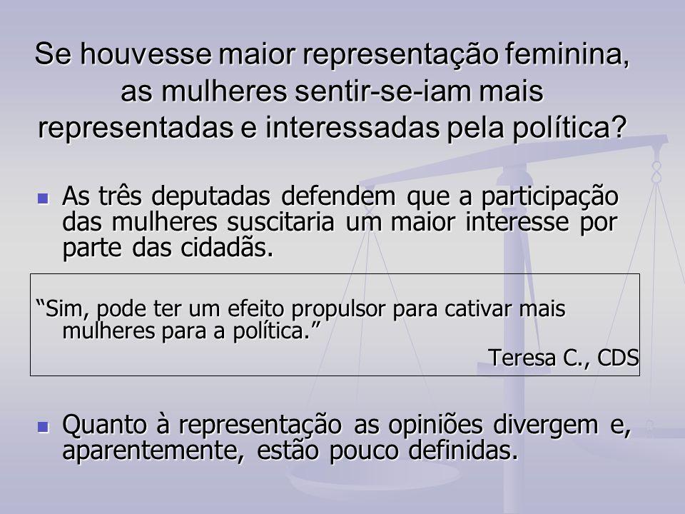 Se houvesse maior representação feminina, as mulheres sentir-se-iam mais representadas e interessadas pela política.