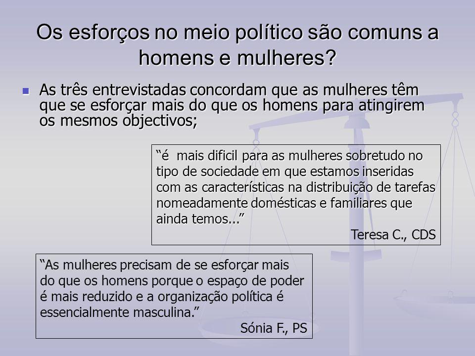 Os esforços no meio político são comuns a homens e mulheres.