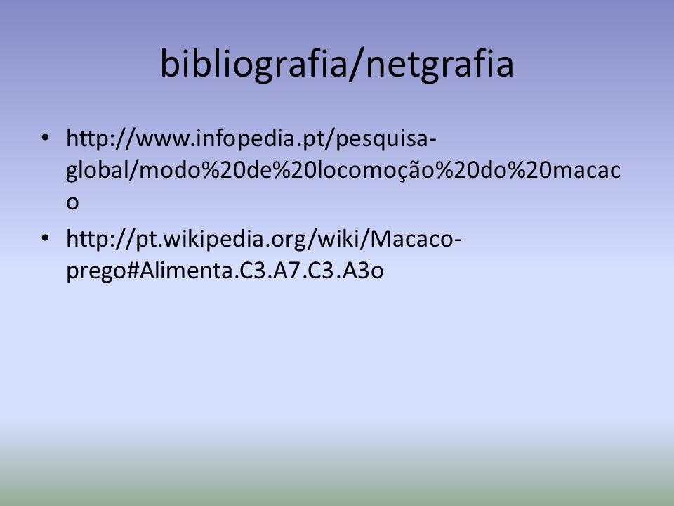 bibliografia/netgrafia http://www.infopedia.pt/pesquisa- global/modo%20de%20locomoção%20do%20macac o http://pt.wikipedia.org/wiki/Macaco- prego#Alimenta.C3.A7.C3.A3o